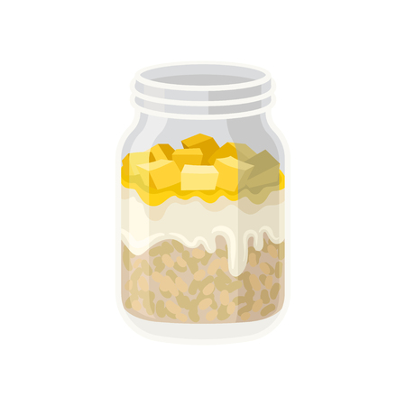 Oatmeal with yogurt and pieces of fruit in glass jar. Healthy breakfast. Organic and tasty food. Vegetarian nutrition. Delicious and sweet meal. Flat vector illustration isolated on white background.