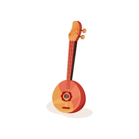 Traditional wooden domra with round body and three metal strings. Folk stringed instrument. Graphic element for music event poster. Colorful vector icon in flat style isolated on white background.