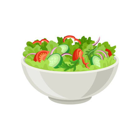 Fresh vegetable salad in gray ceramic bowl. Fresh and healthy food. Vegetarian nutrition. Dish made of organic products. Graphic element for cafe or restaurant menu. Isolated flat vector illustration. Ilustrace