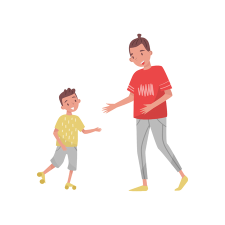 Teenager boy teaching his little brother riding roller-skate. Two cheerful kids. Outdoor activity. Family theme. Cartoon people characters. Colorful flat vector design isolated on white background.