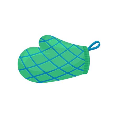 Illustration d'un gant ou d'un gant de cuisine vert à rayures bleues. Utilisé pour protéger la main des objets chauds. Thème des ustensiles de cuisine. Conception de vecteur plat coloré isolé sur fond blanc. Icône de style dessin animé.