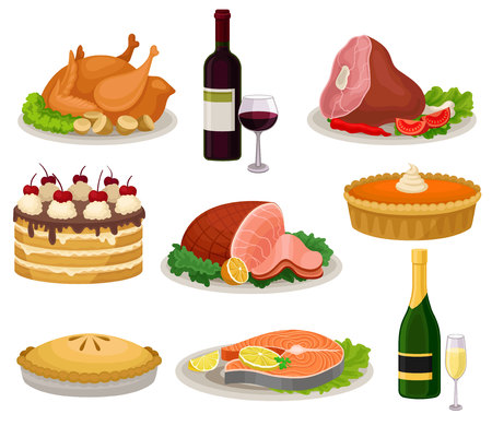 Set of traditional holiday food and drinks. Tasty meal and beverage. Delicious dishes for dinner. Sweet desserts. Elements for advertising poster or banner. Colorful flat vector isolated on white. 일러스트