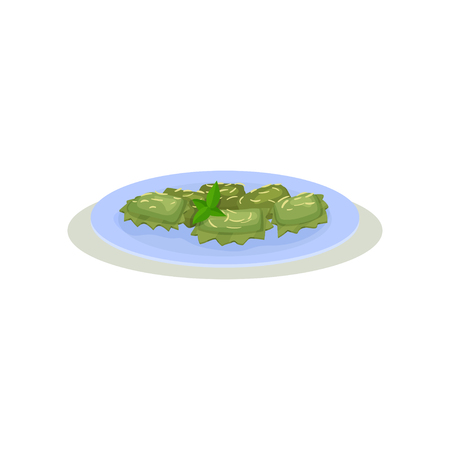 Green quadretti pasta with leaves of basil in blue plate. Delicious dish of Italian cuisine. Tasty meal for dinner. Graphic element for cafe or restaurant menu. Colorful flat vector isolated on white.