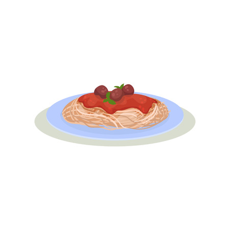 Spaghetti with meatballs, tomato sauce and green basil leaves. Italian cuisine. Tasty dish. Culinary theme. Graphic element for menu or recipe book. Colorful flat vector isolated on white background.
