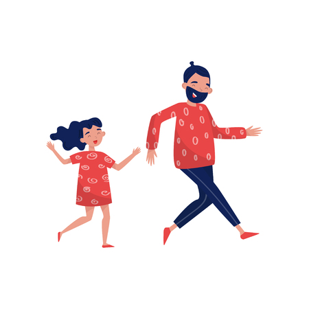 Joyful father and little girl in running action. Family day. Active lifestyle. Dad spending time with his daughter. Outdoor activity. Colorful flat vector illustration isolated on white background.