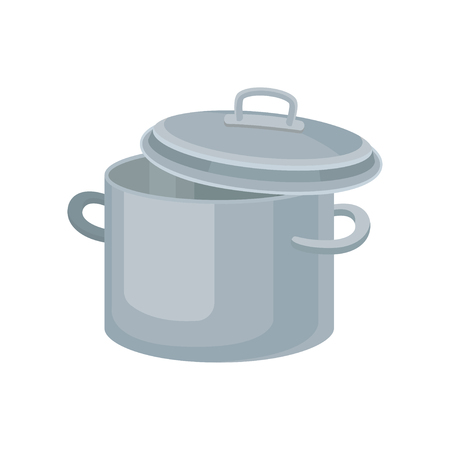 Cartoon icon of gray saucepan. Stainless pot with two handles and lid. Metal container for cooking food. Kitchenware theme. Colorful vector illustration in flat style isolated on white background.