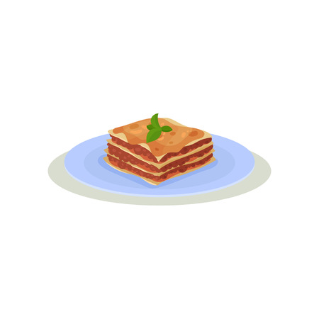 Delicious lasagna with green basil leaves on top. Traditional Italian food. Cooking theme. Colorful graphic element for restaurant menu or recipe book. Flat vector icon isolated on white background. Illustration