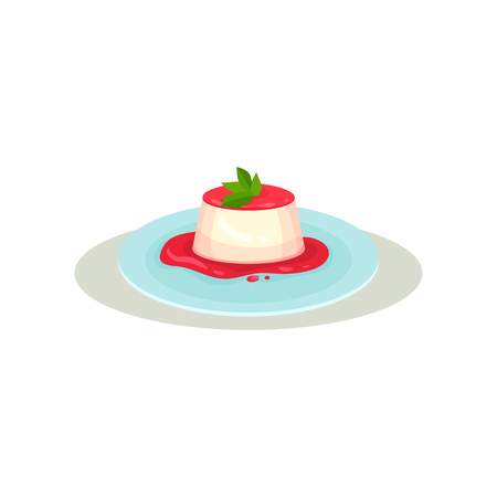 Vanilla panna cotta with strawberry sauce and green leaves on top. Traditional dessert of Italian cuisine. Sweet food. Culinary theme. Colorful flat vector illustration isolated on white background.