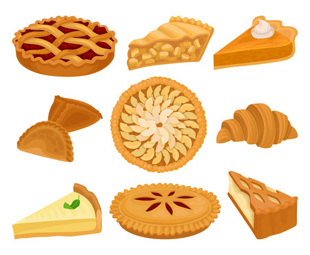 Set van heerlijke bakkerijproducten. Taarten met verschillende vullingen, verse croissants en cheesecake. Zoet eten. Elementen voor receptenboek of cafémenu. Kleurrijke platte vector geïsoleerd op een witte achtergrond.