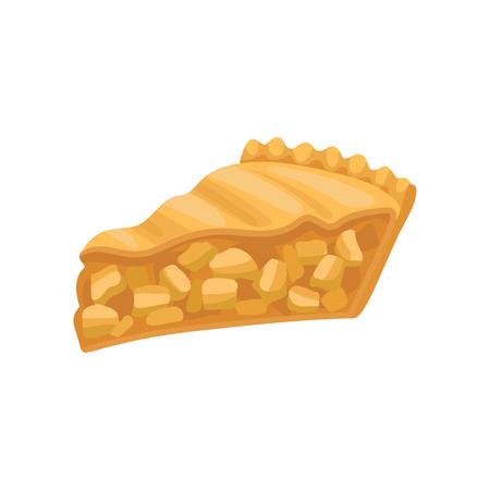 Fetta di deliziosa torta charlotte. Torta di mele appena sfornata. Prodotto da forno gustoso. Elemento grafico per menu bar o poster di pasticceria. Illustrazione vettoriale piatto colorato isolato su sfondo bianco