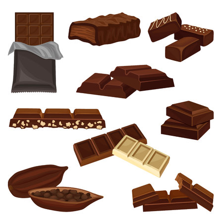 Set of chocolate products. Candies, pieces of bars and cacao bean full of seeds. Sweet food theme. Graphic elements for advertising poster or banner of candy shop. Isolated flat vector illustrations. Ilustração