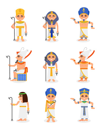 Set of cartoon Egyptian pharaohs and queens. Rulers of ancient Egypt. Men and women characters traditional clothes and headdresses. Colorful vector icons in flat style isolated on white background.