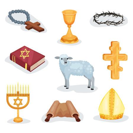 Flat vector set of religious symbols and objects. Jewish prayer book, Torah scroll, lamb and various church attributes 矢量图像