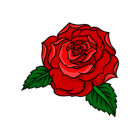 Illustration of beautiful bright red rose with two green leaves. Old-school tattoo design. Graphic element for t-shirt print, greeting card or invitation. Colorful vector isolated on white background.