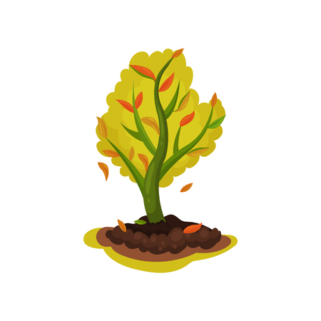 Cartoon illustration of young apple tree with red-orange leaves. Autumn season. Icon related to gardening theme. Natural landscape element. Colorful flat vector design isolated on white background.