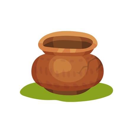 Icono de jarra de cerámica antigua sobre hierba verde. Olla de barro marrón con adorno y crack. Vajilla de cerámica. Recipiente grande para líquidos. Tema de la Edad de Piedra. Diseño colorido vector plano aislado sobre fondo blanco.