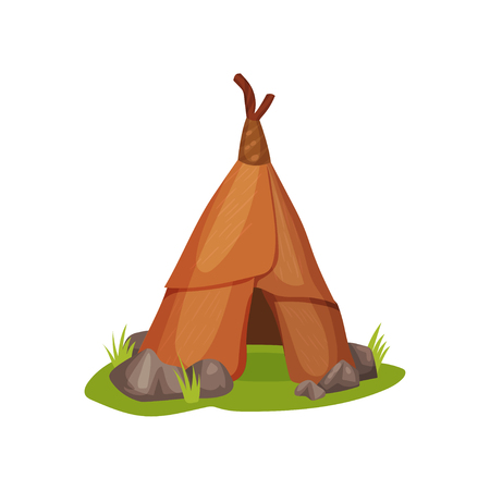 Cartoon illustration of ancient man hut on green grass surrounded by small stones. Home of prehistoric people made of animal skin/leather. Colorful flat vector icon isolated on white background. 向量圖像
