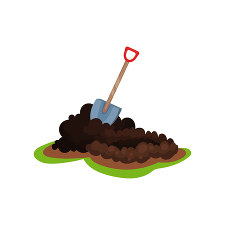 Cartoon illustration of shovel in pile of ground. Hole for planting seed. Garden spade. Gardening and cultivation theme. Colorful flat vector icon in flat style isolated on white background.