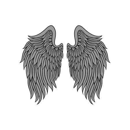 Big open angel wings with gray feathers and black contour. Old-school tattoo design. Vector for print, emblem or greeting card Ilustracja