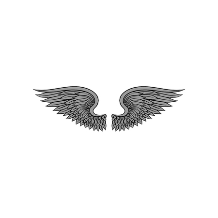 Gorgeous heraldic bird or angel wings with gray feathers. Tattoo artwork. Vector element for sticker, t-shirt print, invitation or poster