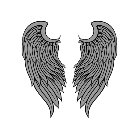Icon of gorgeous bird or angel wings with gray feathers and black contour. Tattoo artwork. Graphic design for print, sticker or poster. Colorful vector illustration isolated on white background.