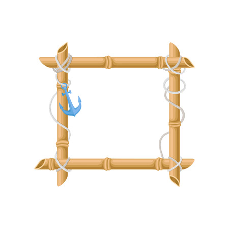 Wooden square frame made of bamboo sticks with anchor vector Illustration isolated on a white background. Ilustração