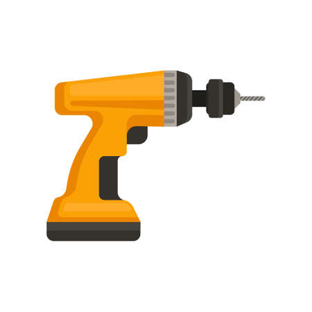 Cartoon style icon of orange cordless drill. Power tool for home repair or construction. Graphic element for promo poster or banner. Colorful flat vector illustration isolated on white background.