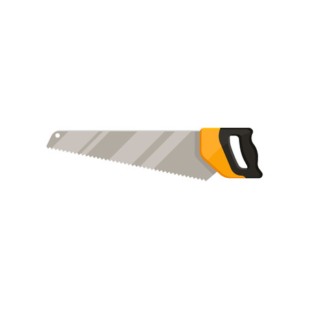 Colorful icon of crosscut hand saw with long steel blade. Tool for cutting wood. Graphic element for promo poster or banner of hardware store. Flat vector illustration isolated on white background.