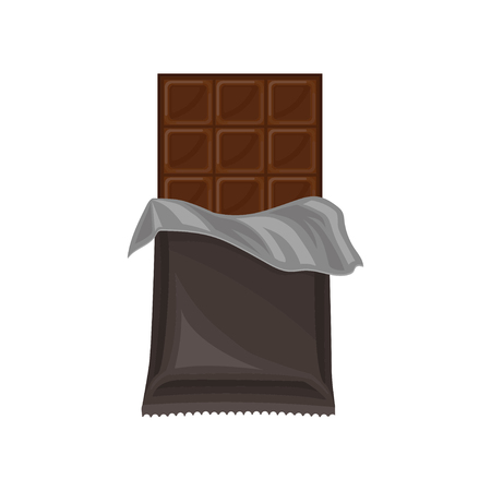 Chocolate bar in grey polyethylene wrap, delicious dessert vector Illustration isolated on a white background. Vecteurs