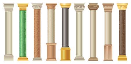 Antike Säulen und Pilars setzen, klassische Steinsäulen in verschiedenen Stilvektorillustrationen auf einem weißen Hintergrund Vektorgrafik
