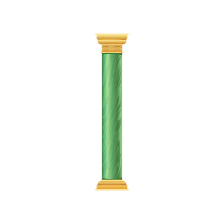 Green antique column vector Illustration isolated on a white background. Иллюстрация