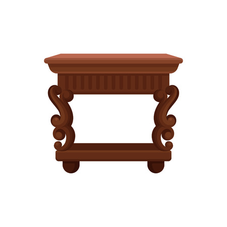 Icon of brown vintage bedside table. Small wooden nightstand. Antique furniture for bedroom or living room. Element of home decor. Colorful flat vector illustration isolated on white background.