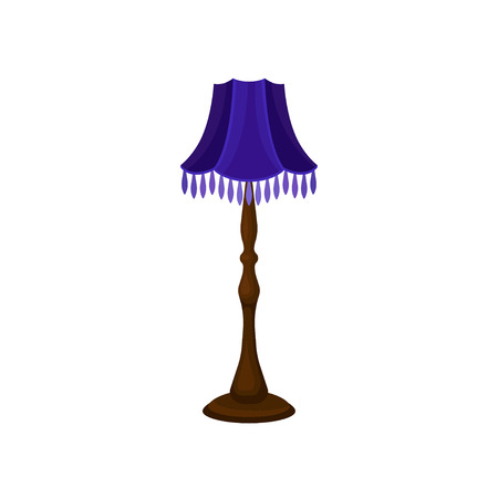 Floor lamp with tall wooden stand and blue lampshade. Decorative interior object. Antique home furniture. Cartoon style icon of vintage torchere. Colorful flat vector illustration isolated on white.