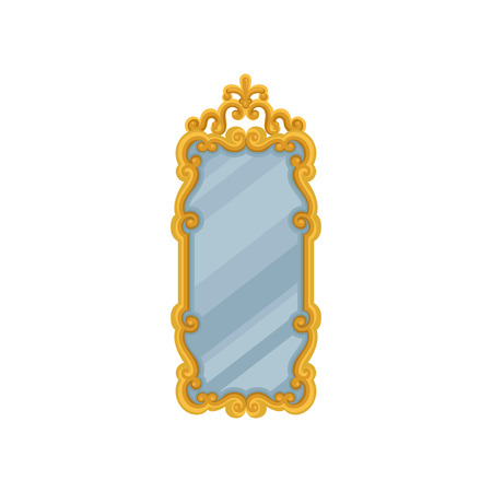 Large rectangular wall mirror with golden ornate frame. Element for home interior. Decorative object for bedroom or living room. Colorful vector illustration in flat style isolated on white background