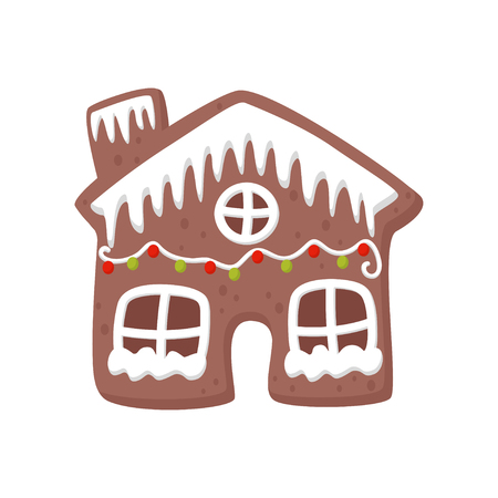 Gingerbread house decorated with white icing. Tasty holiday cookie. Christmas sweets. Flat vector for party invitation or greeting card