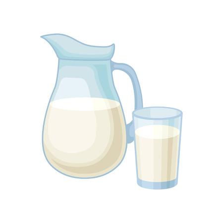 Pichet et verre de lait, vecteur de produit laitier frais sain Illustration isolé sur fond blanc.