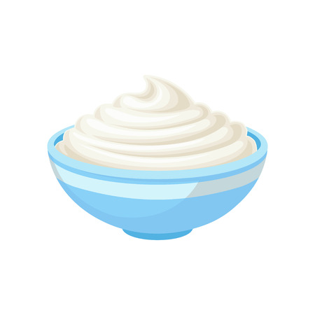 Sour cream in a bowl, healthy fresh dairy product vector Illustration isolated on a white background. Ilustracja