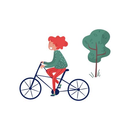 Smiliing girl riding bicycle, eco friendly alternative transportation vehicle vector Illustration isolated on a white background. Ilustração
