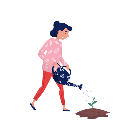 Girl watering seedling with watering can, eco friendly people concept, protection and preservation of the environment vector Illustration isolated on a white background.