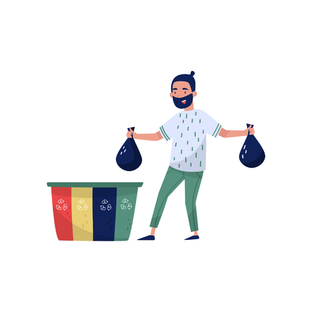 Man sorting waste for recycling, eco friendly people concept, protection and preservation of the environment vector Illustration isolated on a white background.