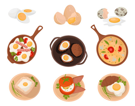 Tasty dishes made from eggs set, raw, boiled and fried eggs with various ingredients vector Illustration on a white backgroun Ilustração