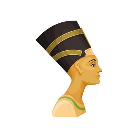Colorful portrait of Nefertiti, side view. Queen of ancient Egypt. Wife of Egyptian pharaoh. Element for promo poster or banner of travel agency. Flat vector illustration isolated on white background. Ilustracja
