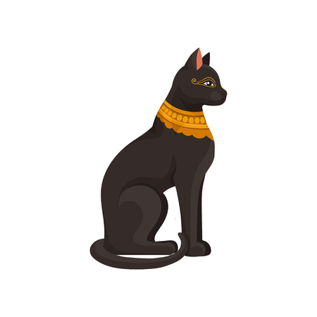 Figurine of sitting black Egyptian cat with golden necklace. Goddess Bastet statue. Ancient Egypt theme. Graphic element for mobile game or book. Colorful flat vector icon isolated on white background