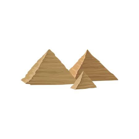 Three ancient Egyptian pyramids. Famous monumental structure in Egypt. Travel icon. Landscape element for mobile game. Isolated flat vector design for postcard or advertising poster of travel agency.