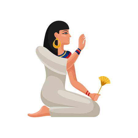 Woman of ancient Egypt sitting on her knees. Cartoon female character with black hair in traditional dress and accessories. Colorful vector illustration in flat style isolated on white background.