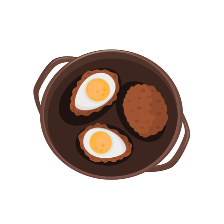 Steaks with eggs, fried eggs and cutlet vector Illustration isolated on a white background. Standard-Bild - 112373671