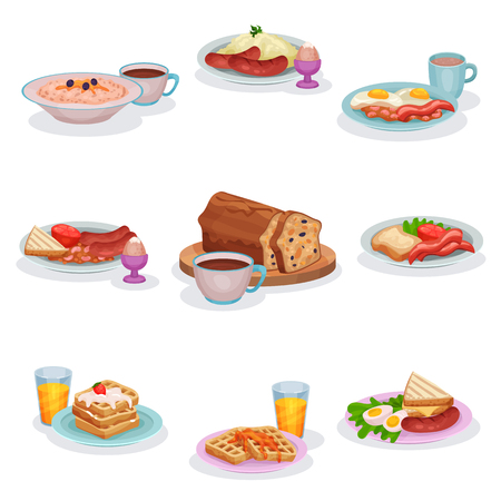 Traditional English breakfast dishes set, oatmeal porridge, mashed potatoes with sausages, eggs and ham, classic fruitcake, waffles vector Illustrations isolated on a white background.