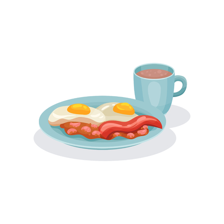Eggs, ham and cup of coffee, traditional English breakfast vector Illustration isolated on a white background.