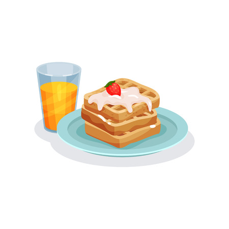 Belgian waffles with ice cream and glass of juice, traditional food for breakfast vector Illustration isolated on a white background.
