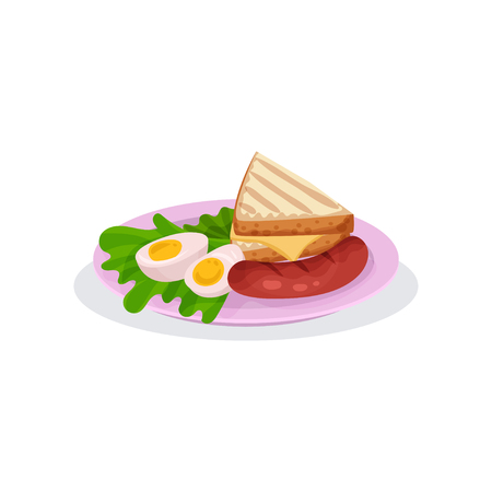 Hard boiled egg, bread with cheese, sausage and lettuce, traditional English breakfast vector Illustration isolated on a white background. Vetores